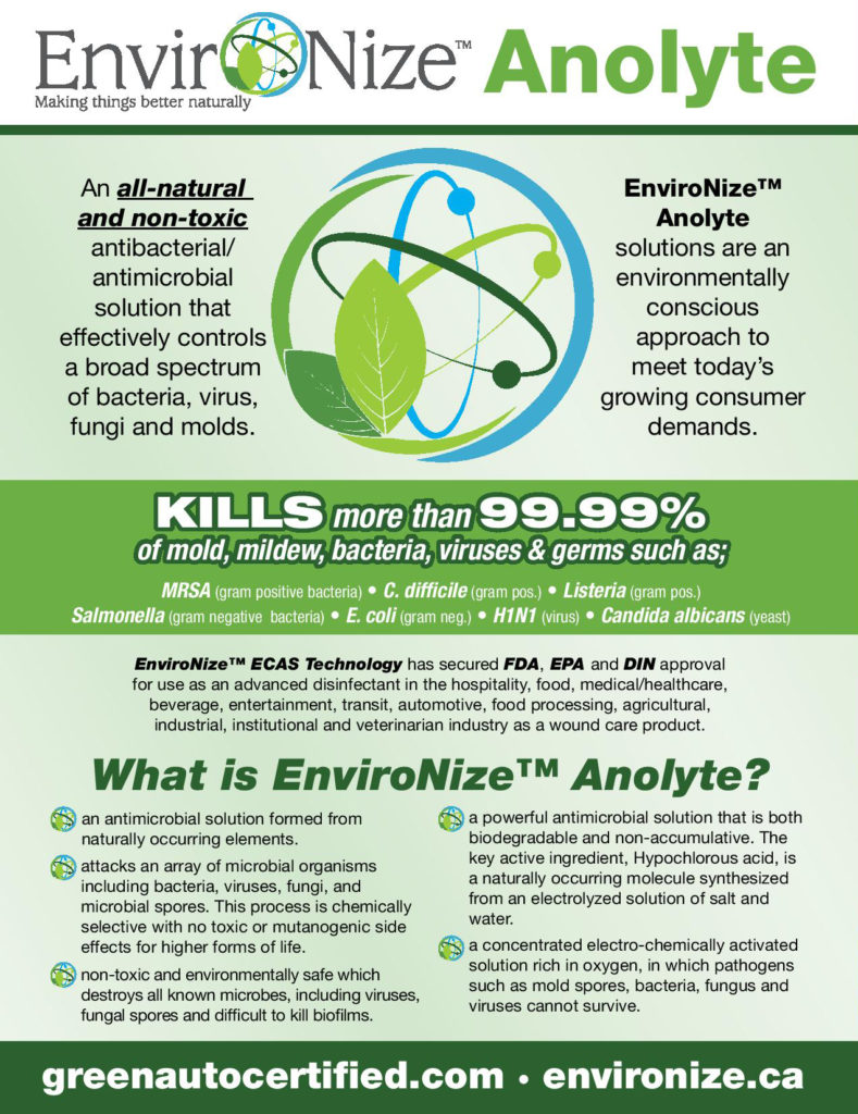 Brochure For Environize Green Auto Certified Disinfection And Sanitation Product At Listowel Ford