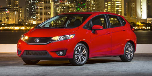 2015 Red Honda Fit Car in parking lot