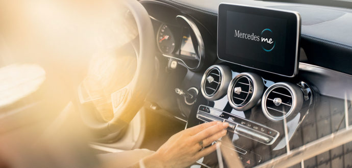 The centre console of a Mercedes-Benz displaying the Mercedes me function; Discover yours at Mercedes-Benz Downtown Calgary in Alberta
