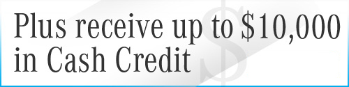 Graphic for $10,000 in Cash Credit with Contact Sales CTA
