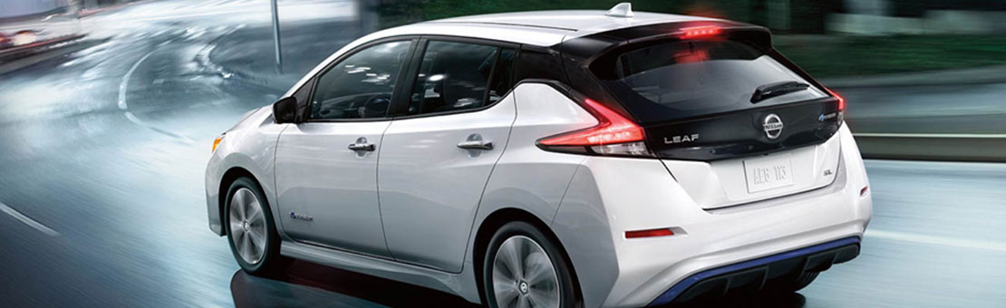 Nissan LEAF SL shown in Pearl White with optional equipment highlighting E-Pedal