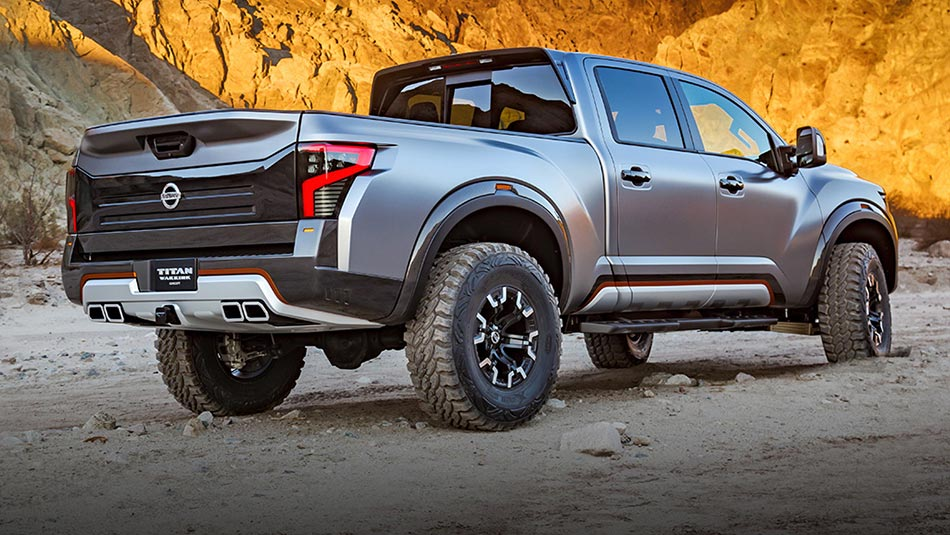 Nissan Titan Warrior Concept Truck Exterior Rear View with quad tipped exhaust