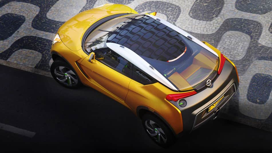 The Nissan Extrem from an angled bird's eye view