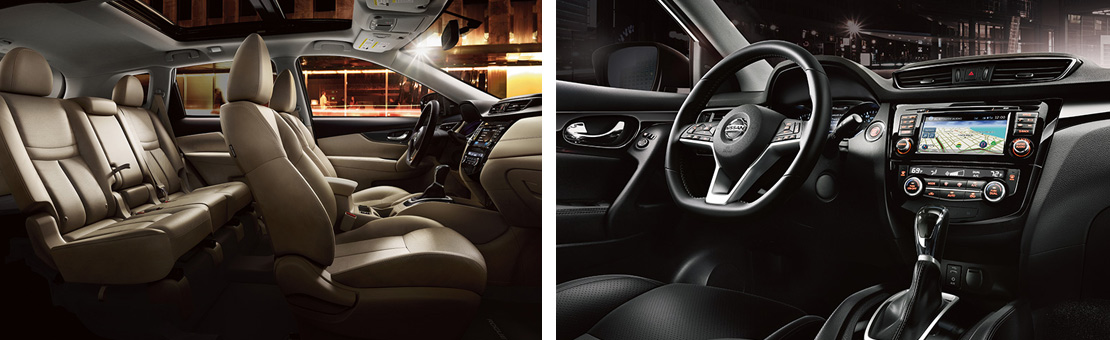 Qashqai and Rogue vehicle interiors