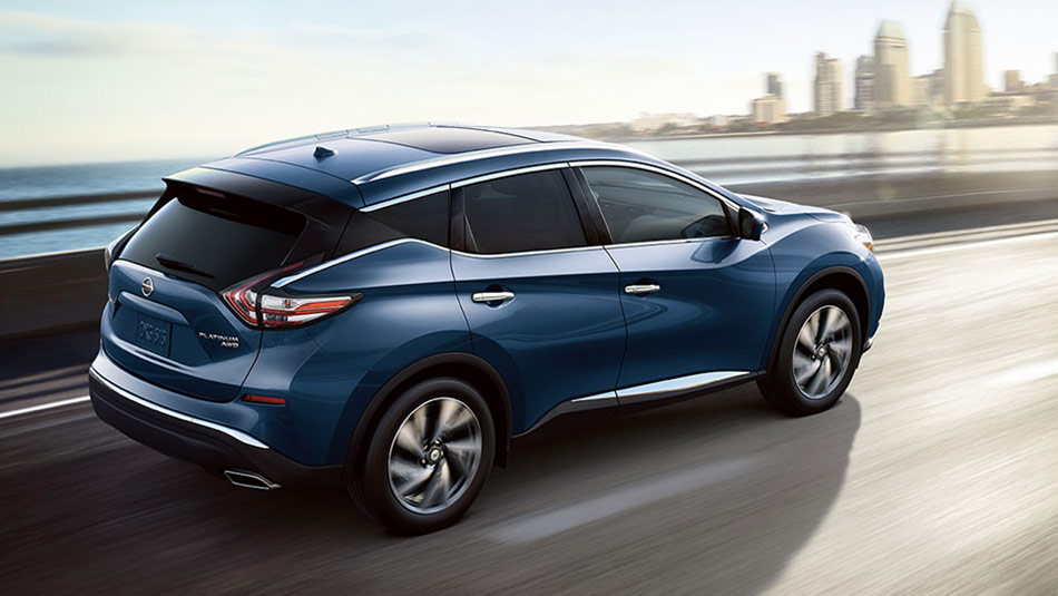 Nissan Murano Platinum AWD shown in Deep Blue Pearl floating roof appearance