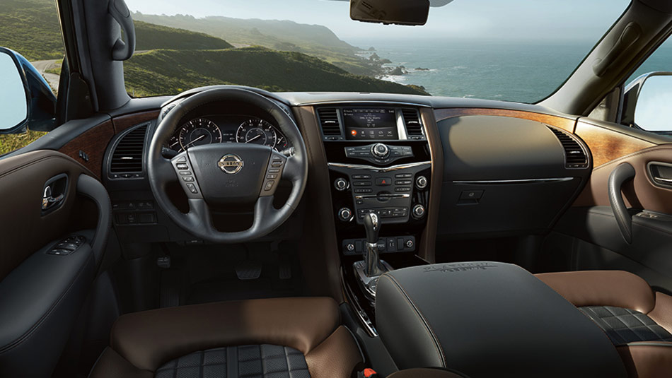 Nissan Armada® Platinum Reserve interior, highlighting premium two-tone leather.