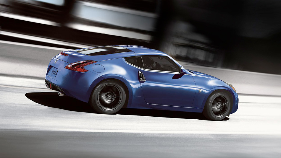 2019 Nissan 370Z Coupe with blue exterior, aerial view