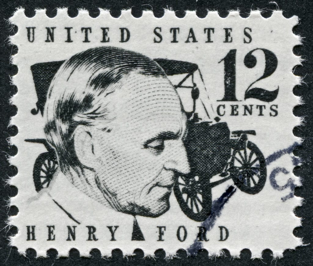 Richmond, Virginia, USA - December 3rd, 2012: Cancelled Stamp From The United States Featuring The Pioneer Of The Automobile, Henry Ford.