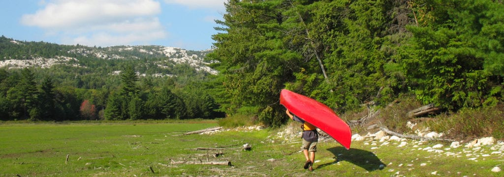 Canoeist portaging a red canoe by the forest edge