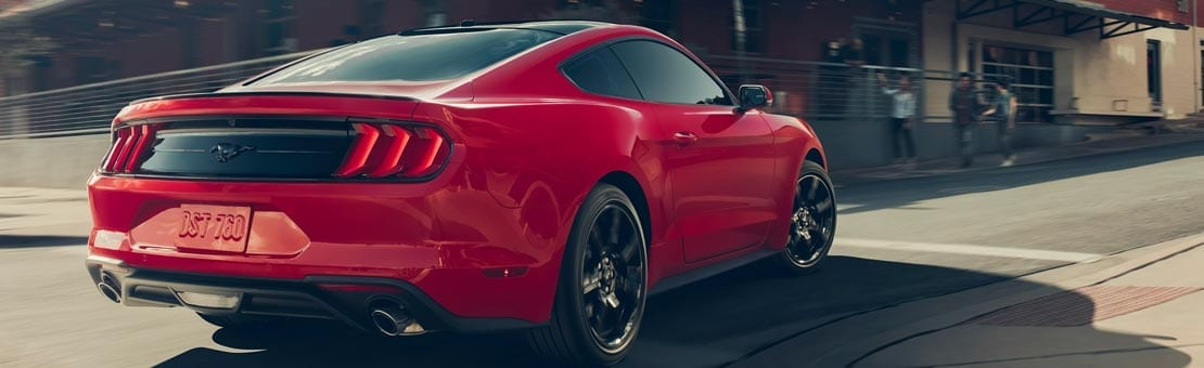Red exterior of 2019 Ford Mustang