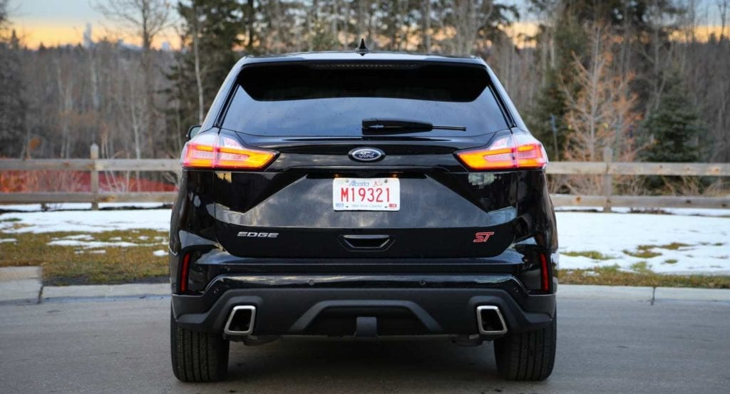 rear view of the 2019 Ford Edge ST in Agate black