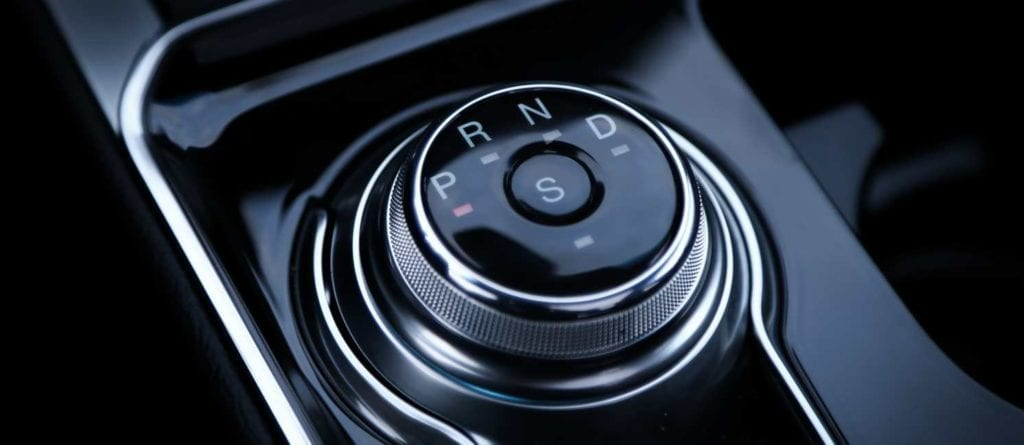 the rotary gear selector in the 2019 Ford Edge ST in Agate black