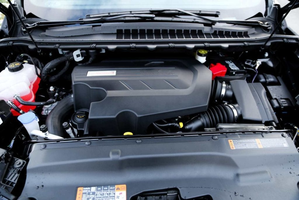 view of the engine bay of the 2019 Ford Edge ST in Agate black