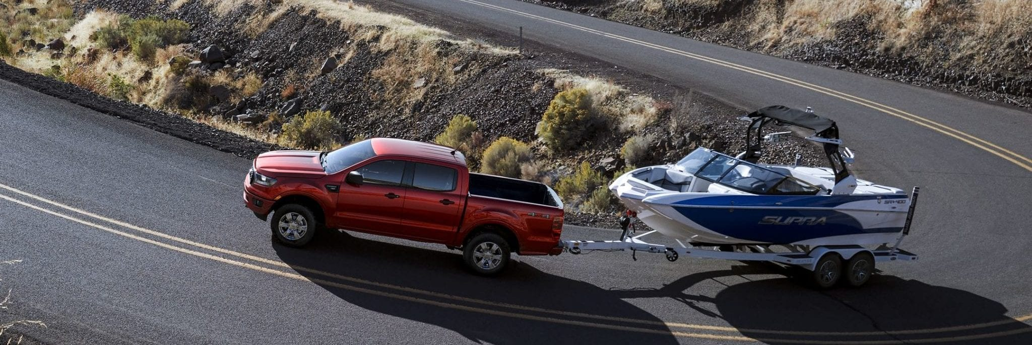 2019 Ford Ranger pulling a boat