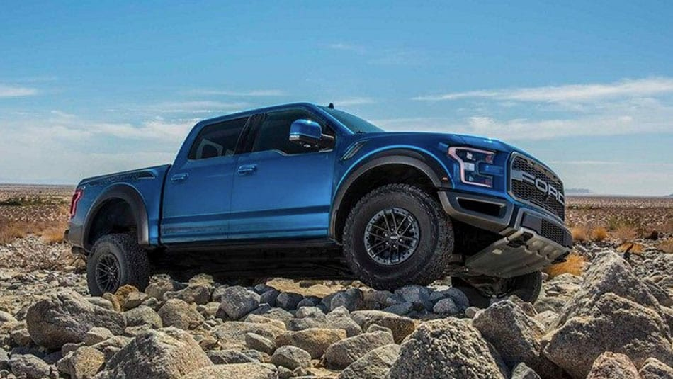 F 150 Raptor on rocky terrain