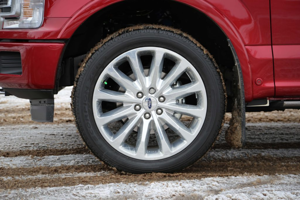The wheel of red a Ford F-150 Limited