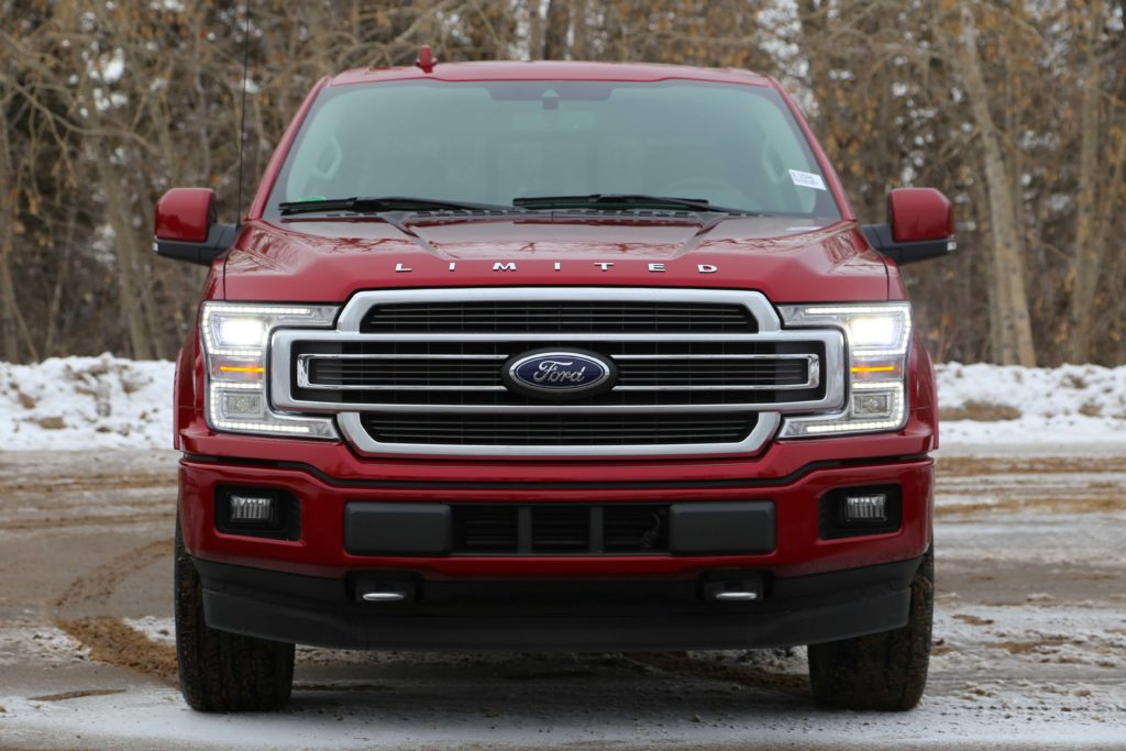 A front view of a red Ford F-150 Limited