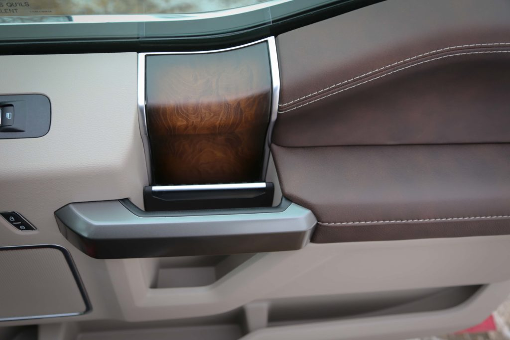 The wood trim inside the Ford F-150 Limited