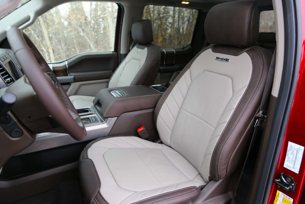 The leather appointed front seats of the Ford F-150 Limited