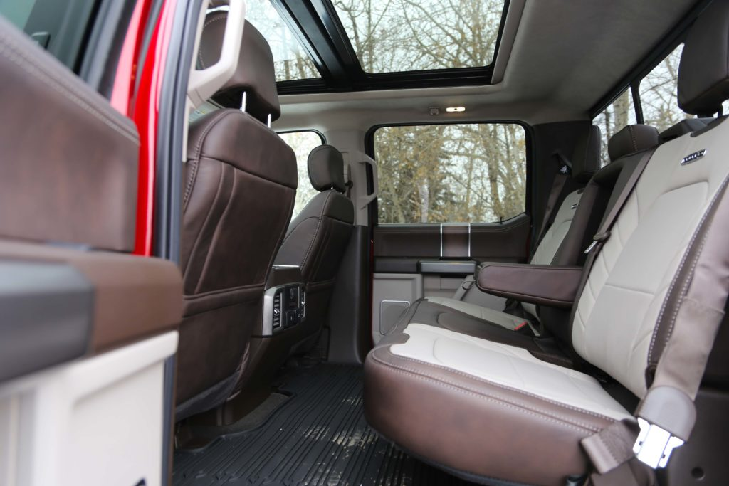 A look at the leather appointed rear seats of the Ford F-150 Limited