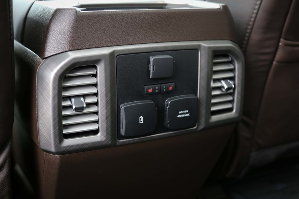 The rear seat climate controls for the Ford F-150 Limited