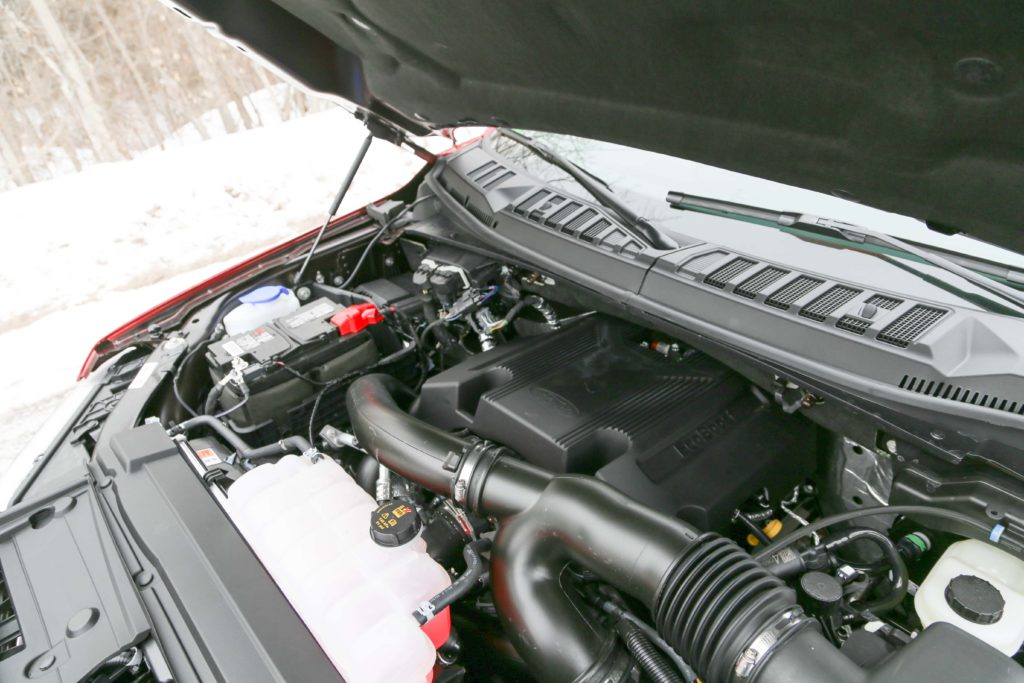 A look under the hood of the Ford F150 Limited, at the 3.5L twin-turbo EcoBoost engine
