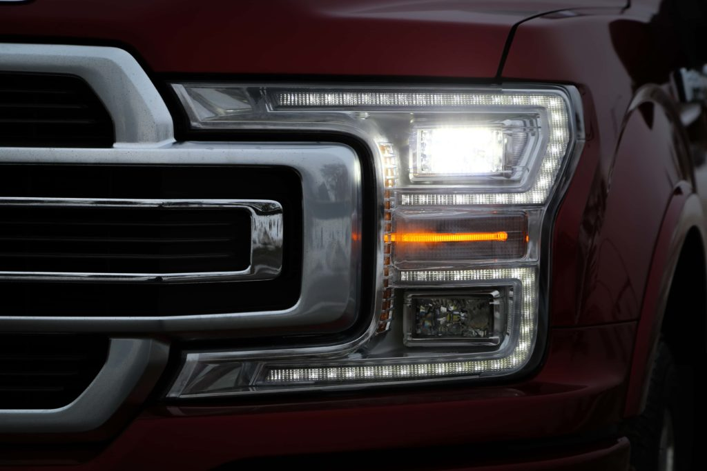 A look at the LED headlights of the Ford F-150 Limited