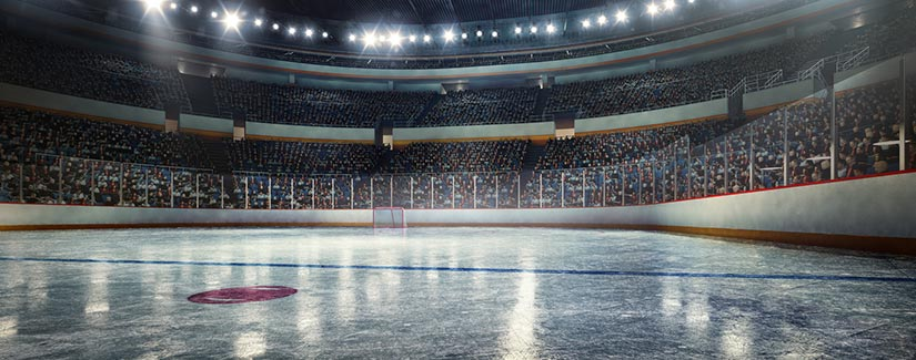 Worms eye view of a Hockey arena from the ice