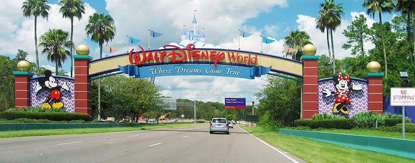 Walt Disney World front gate entrance from the main road