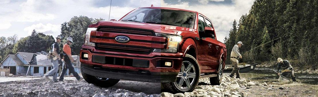 Ford F-150 on a bed of rocks with fishermen
