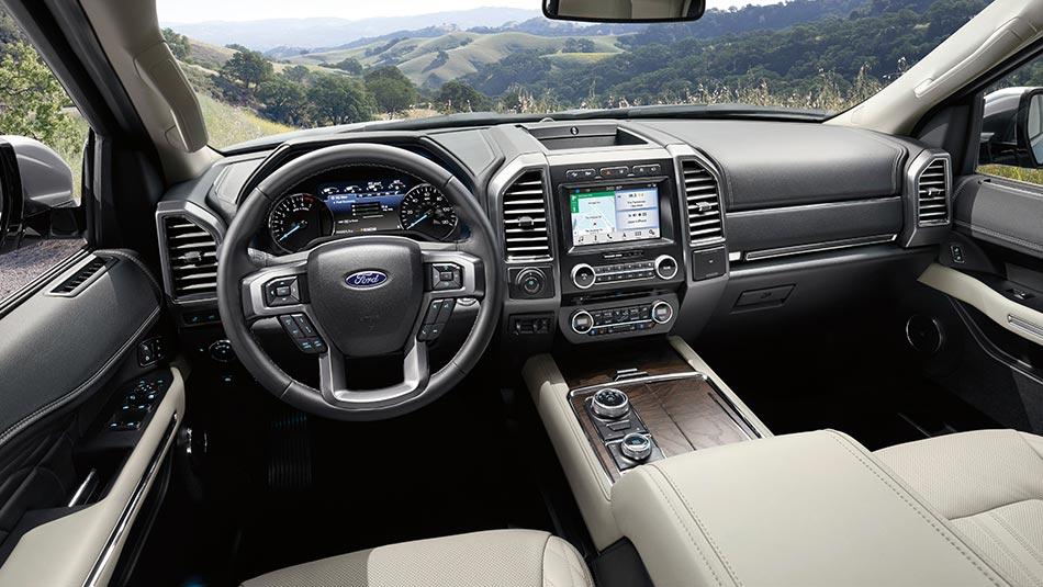 2019 Ford Expedition interior view of steering wheel and dashboard