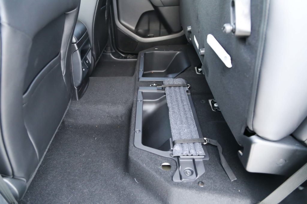 The folded up rear seats in the 2019 Ford Ranger
