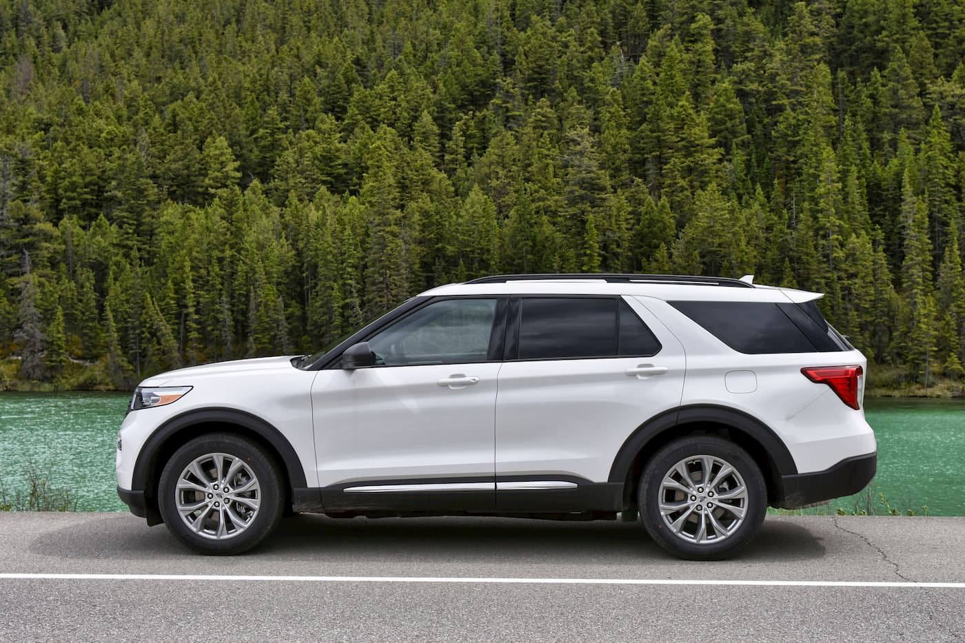 White 2020 Ford Explorer Side View Shot By Lake