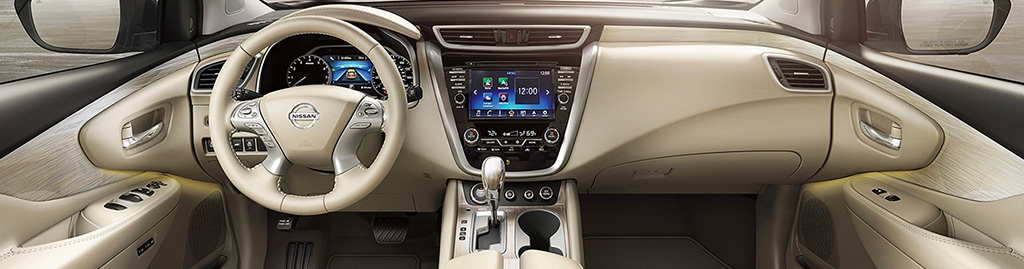 Nissan Murano Interior Dashboard View With Supple Ivory Leather and Birch Trim
