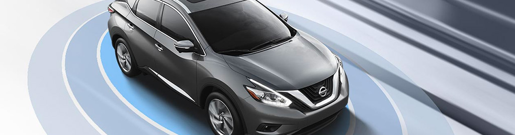 Slate Grey Blue Nissan Murano With Safety Sensing technology graphic