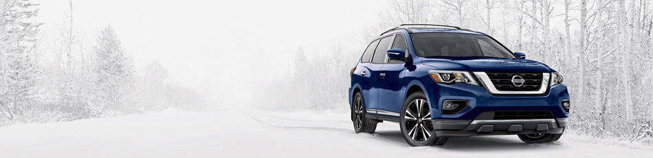royal blue nissan pathfinder in snow storm