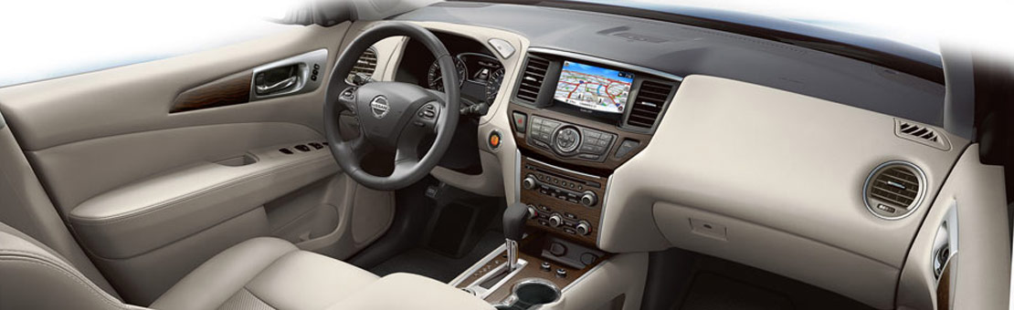 2019 Nissan Pathfinder interior view of driver and passenger seating