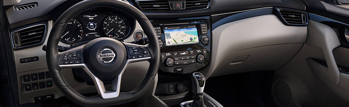 2019 Nissan Qashqai interior shown in Light Grey Leather