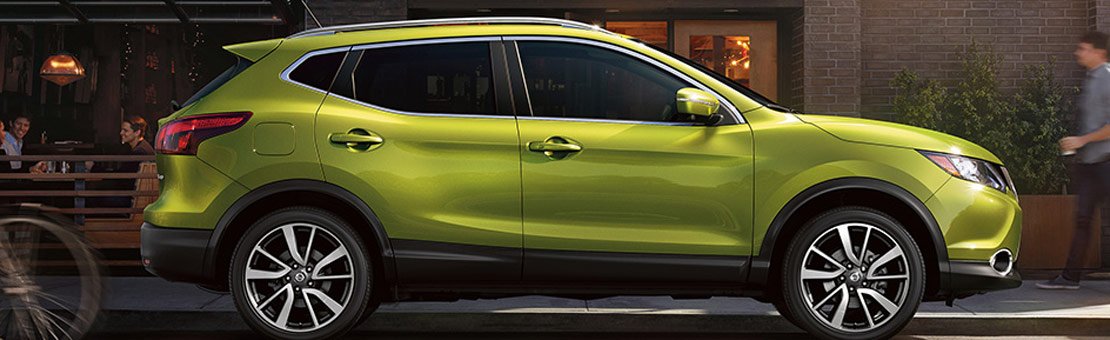 2019 Nissan Qashqai side profile shown in Nitro Lime