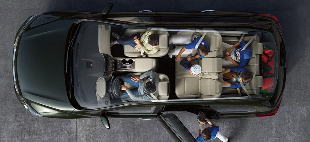 overhead shot of nissan pathfinder interior and seating
