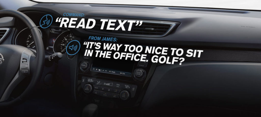 console inside Nissan with NissanConnect screen showing text messages