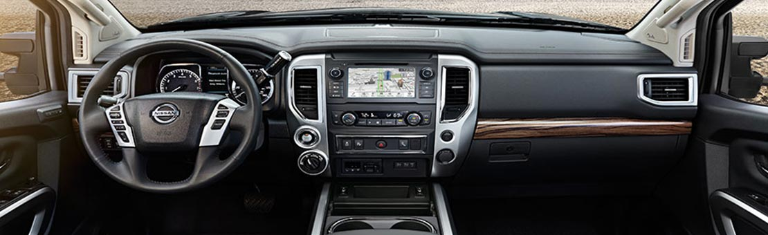 Nissan Titan interior shown in Black/Brown Leather.