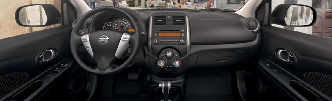 2019 Nissan Micra interior, highlighting sport cloth seats with contrast stitching