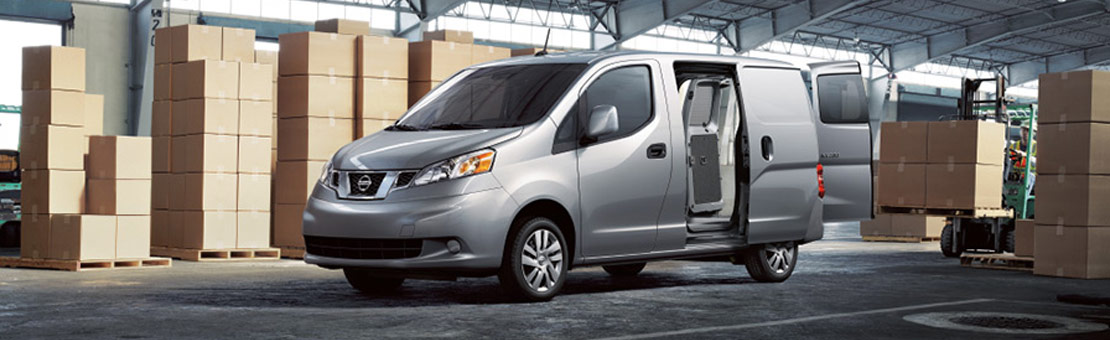 2019 NV200 Compact Cargo parked in a warehouse with cargo doors open
