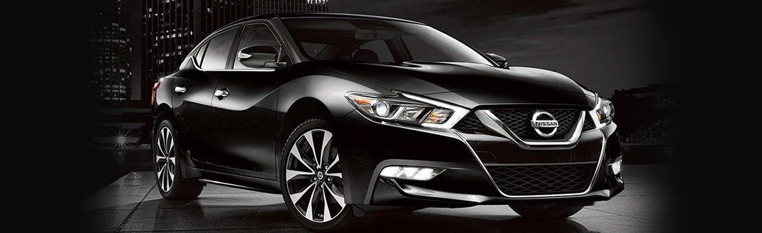 Nissan Maxima SR shown in Super Black with 19-inch machine-finished aluminum-alloy wheels