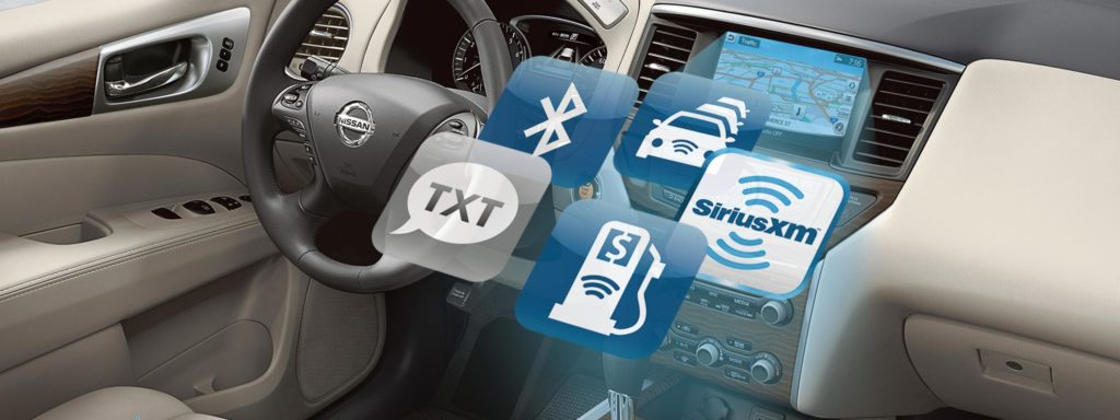 logos of nissanConnect available apps superimposed over nissan interior