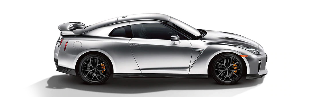 Side view of a 2020 Nissan GT-R Premium Edition shown in Super Silver
