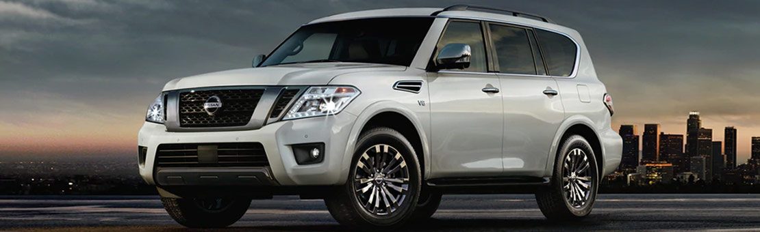 2019 Nissan Armada Platinum Reserve shown in Pearl White