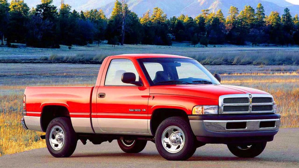 A red 1994 Dodge Ram 1500