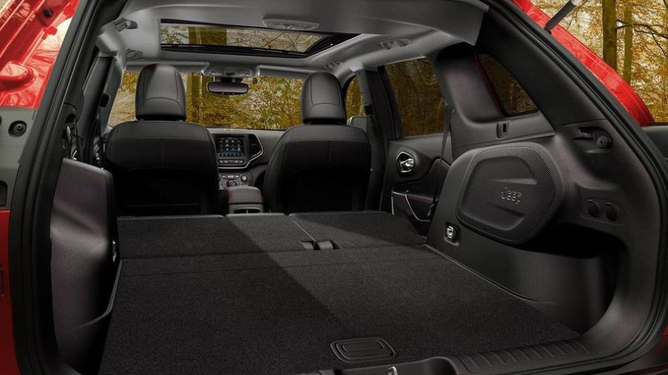 The huge cargo space inside the 2019 Jeep Cherokee, when the back seats are folded down